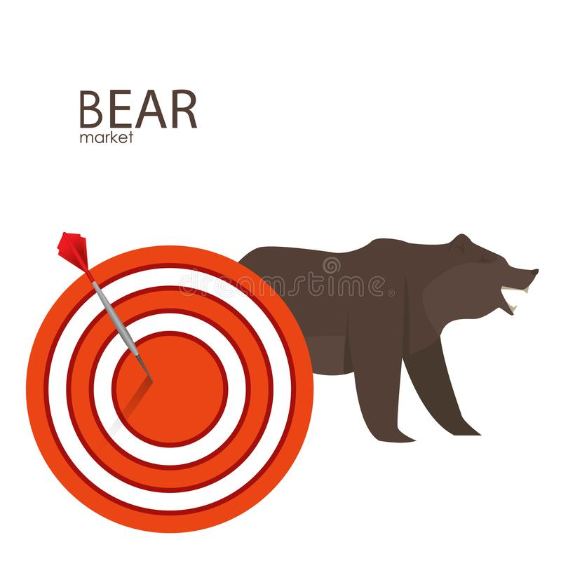 Bear market. Bear and red arrow. Stock market vector. NBear market. Accurate hit on target. Stock market vector illustration royalty free illustration