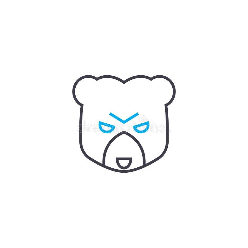 Bear market vector thin line stroke icon. Bear market outline illustration, linear sign, symbol concept. royalty free illustration