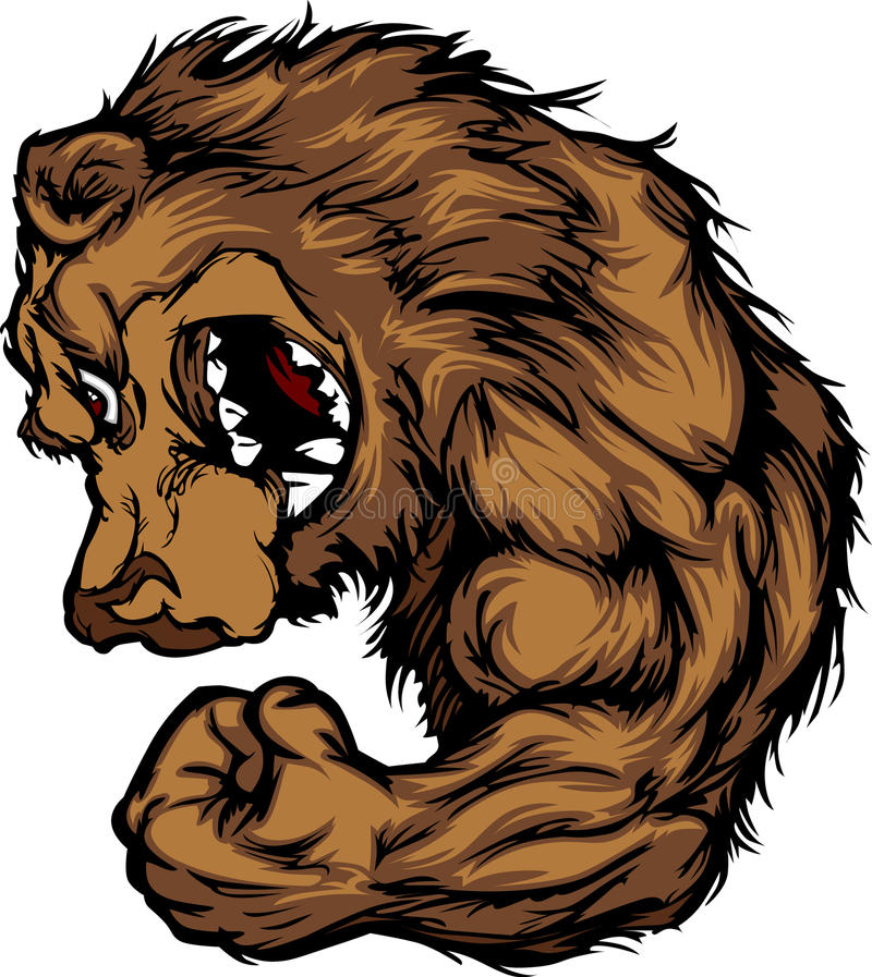 Bear Mascot Flexing Arm Vector Cartoon stock illustration