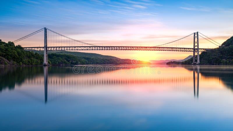 Bear Mountain Bridge at sunrise stock images