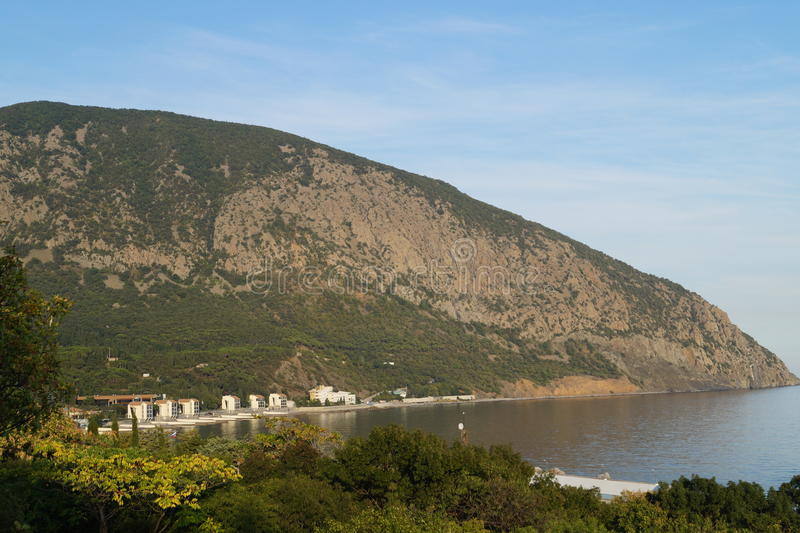 Bear Mountain. The most beautiful place in the Crimea. At the bottom is a children's center Artek stock photos