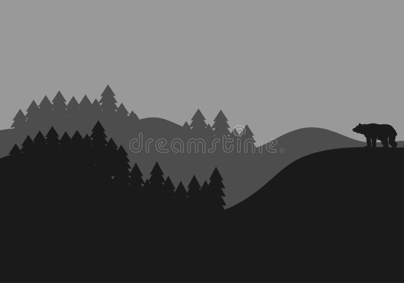 Bear in the mountains. Vector black and white illustration of a bear on a background of mountains and forest. Vector, cartoon. Illustration of a mountain vector illustration
