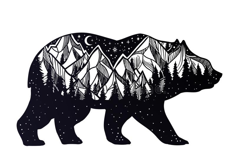 Bear and night forest mountain landscape, double exposure, wildlife tattoo art, fantasy style. vector illustration