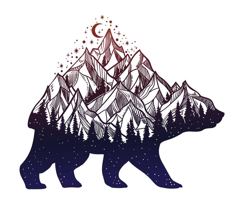 Bear and night forest mountain landscape, double exposure, wildlife tattoo art, fantasy style. Vector isolated illustration royalty free illustration