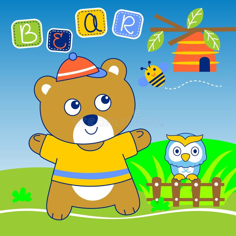 Bear and owl vector royalty free illustration