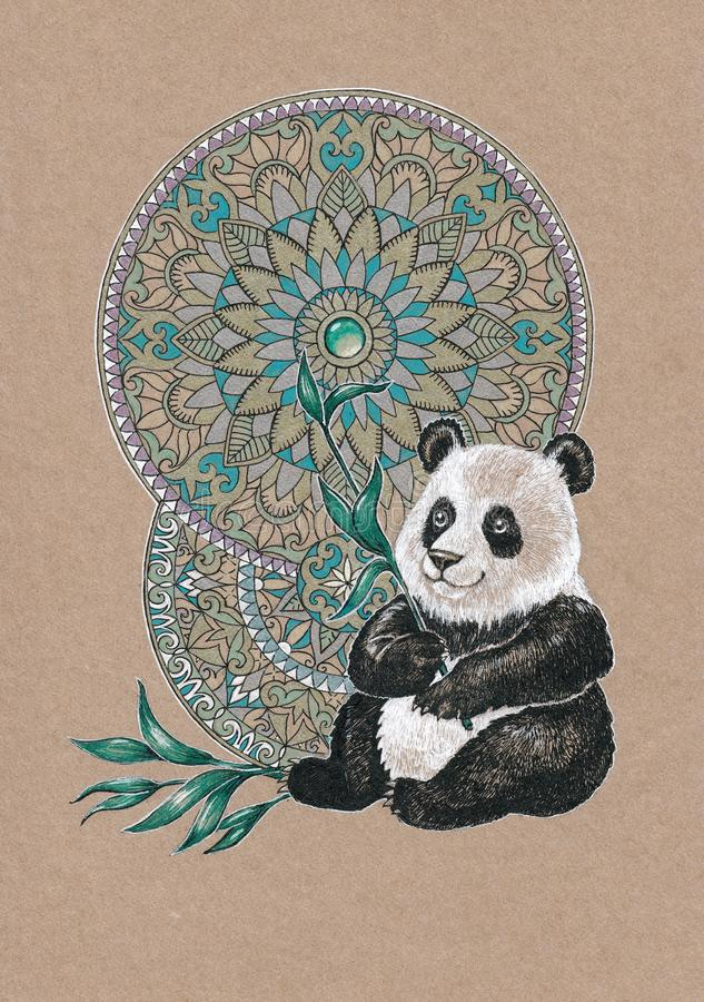 Bear panda on a background of mandalas royalty free illustration