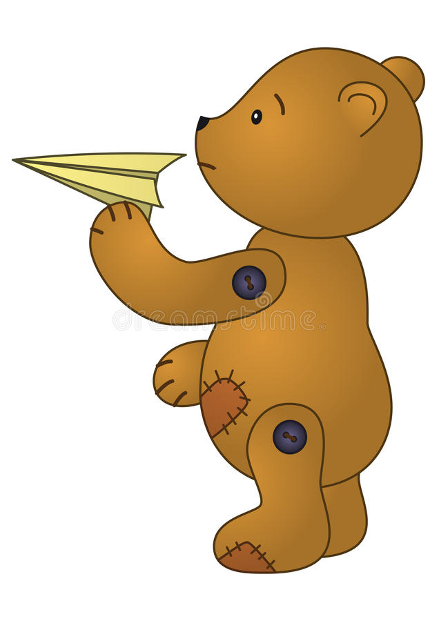 Download Bear with paper plane stock vector. Illustration of cute - 14537943