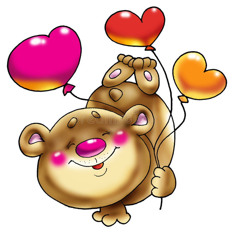 Bear on a paw with balloons. stock photography