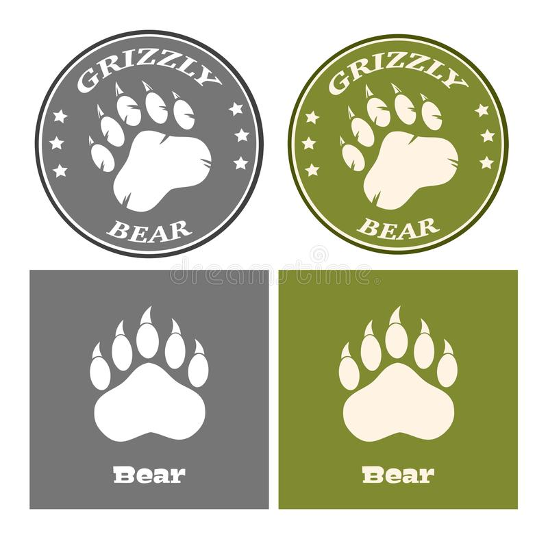 Bear Paw Print Circle Logo Design Concept. Collection. Isolated On White Background royalty free illustration