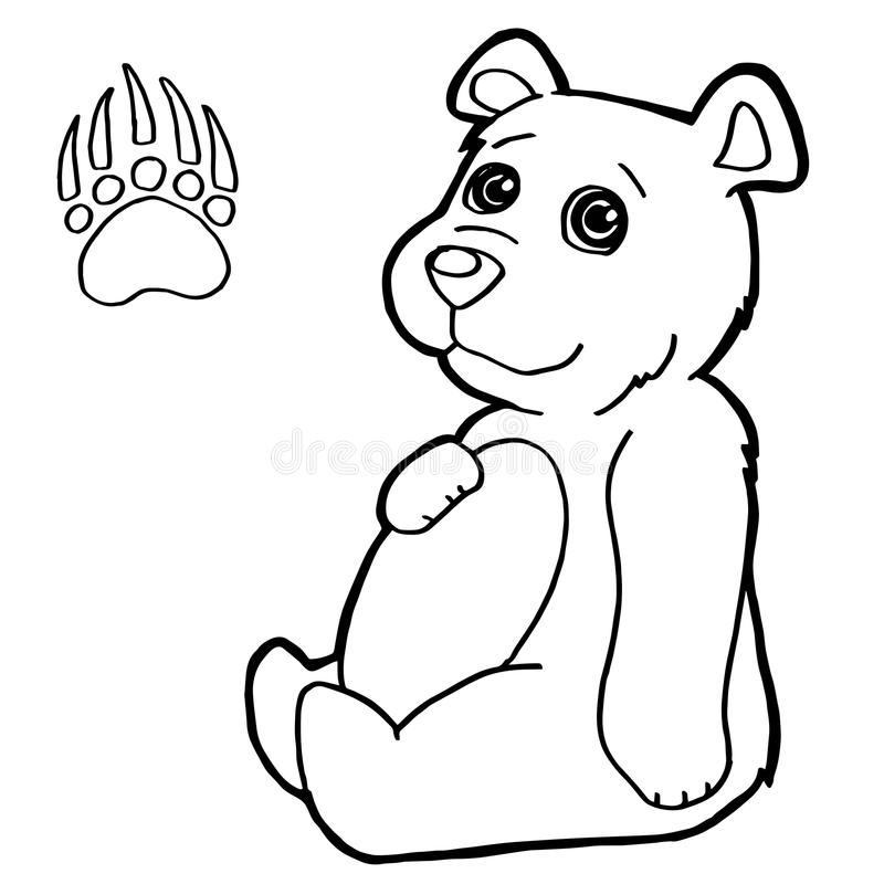 Bear With Paw Print Coloring Page Vector Stock Vector - Illustration ...