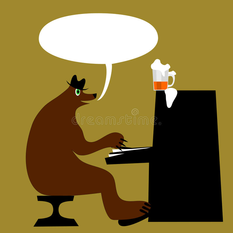 Bear at piano with communication bubble and beer royalty free stock image