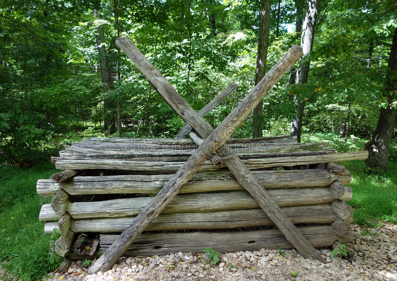 A bear-proof pig sty used by settlers in virginia stock image