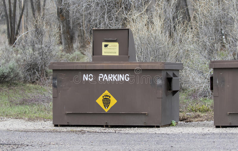 Bear Proof Dumpster In Yellowstone Stock Image - Image of grass