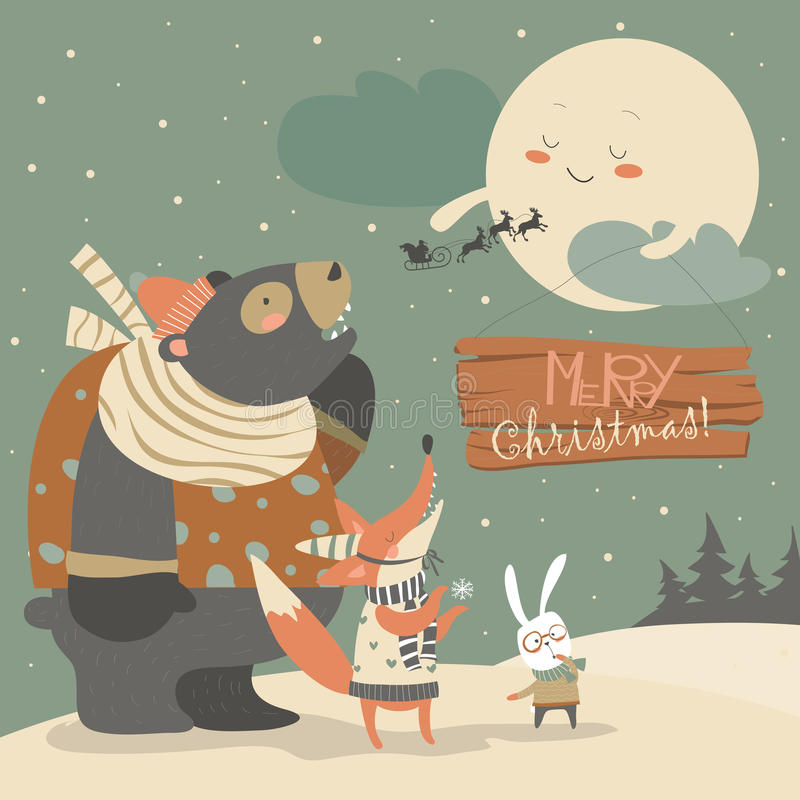 Bear,rabbit and fox watching the moon vector illustration