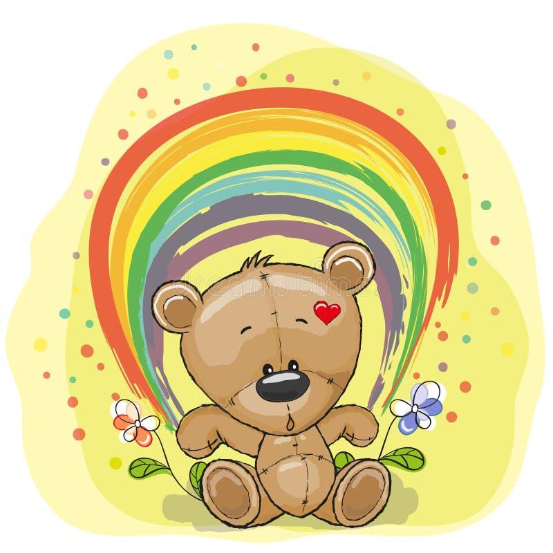 Bear with rainbow stock illustration