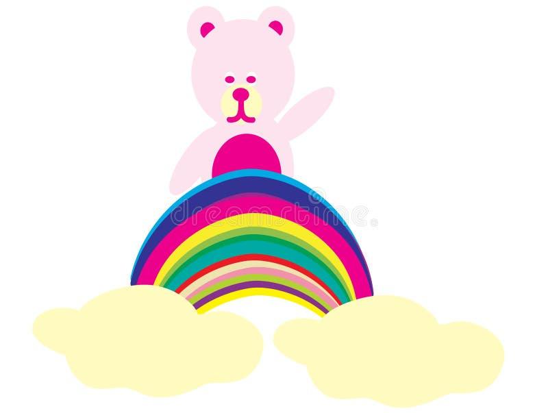 Bear on a rainbow stock image