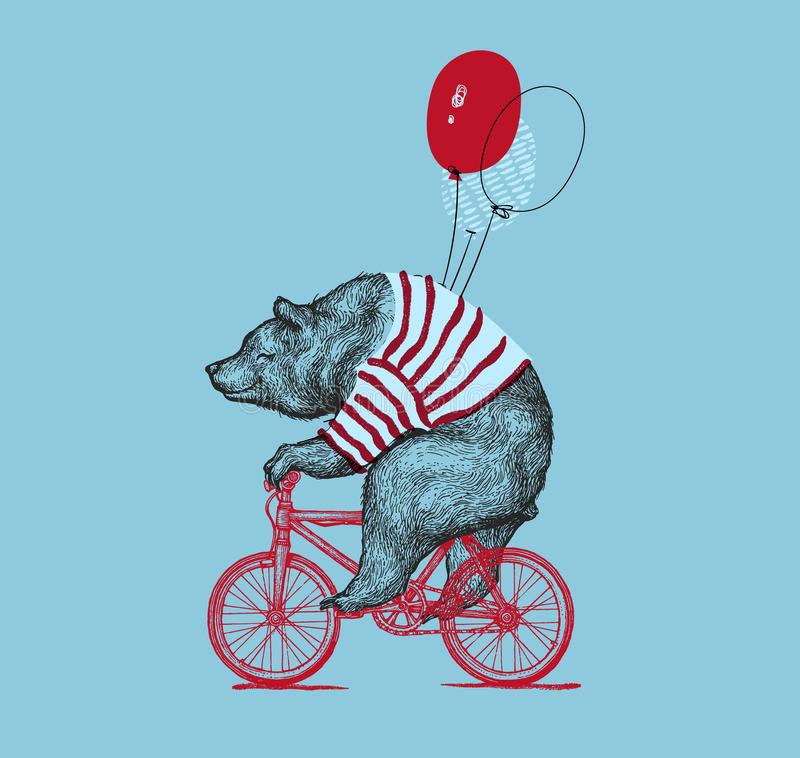 Bear Ride Bike Balloon Vector Grunge Print. Hipster Mascot Cute Wild Grizzly in Striped Vest on Bycicle Isolated stock illustration