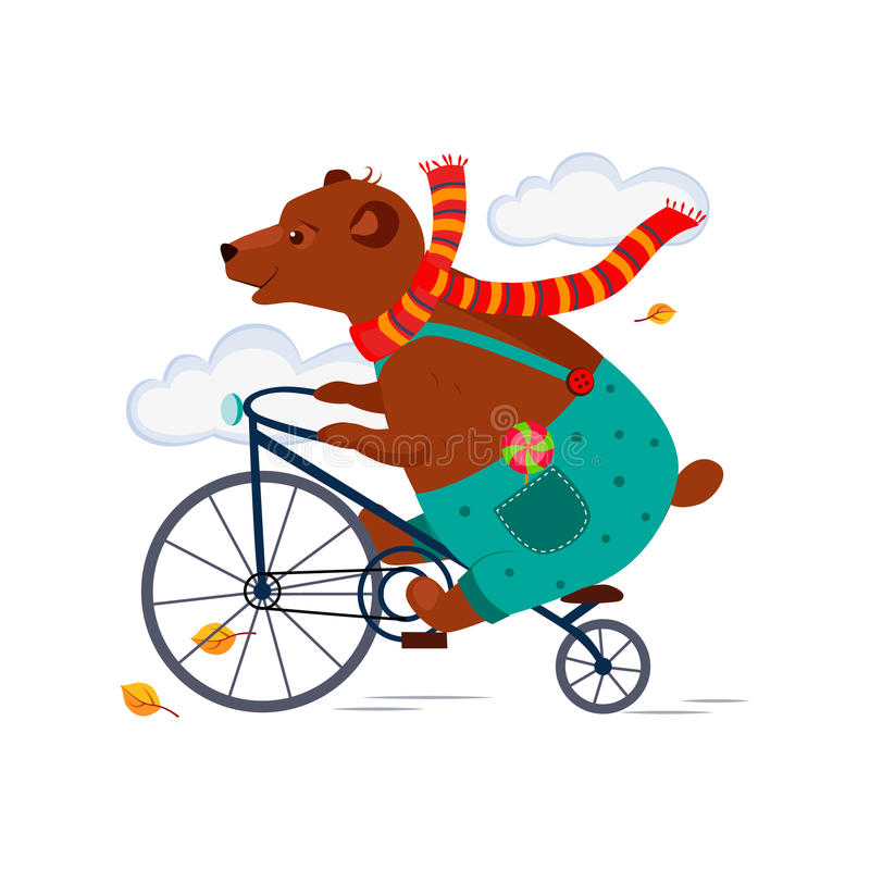 Bear Riding a Bicycle in Scarf Autumn. Vector royalty free illustration
