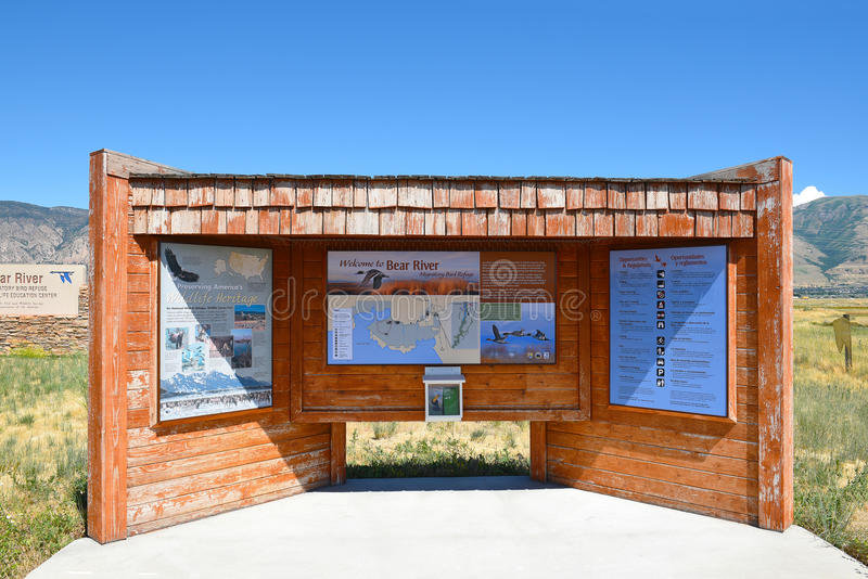 Bear River Migratory Bird Refuge. BRIGHAM CITY, UTAH - JUNE 28, 2017: Bear River Migratory Bird Refuge info kiosk. The refuge covers the Bear River and its delta stock images
