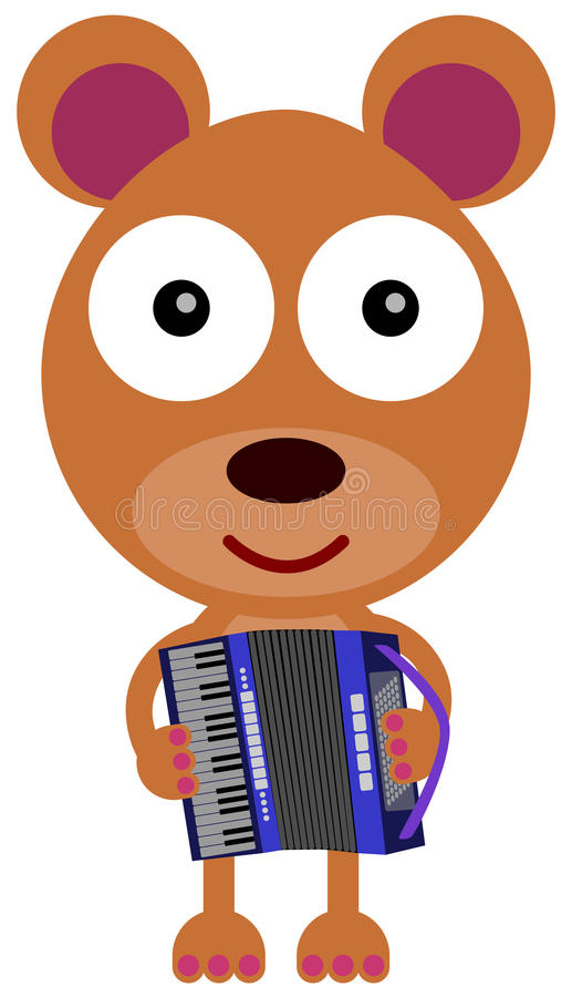 Bear's accordion. A cartoon illustration of a bear playing an accordion vector illustration