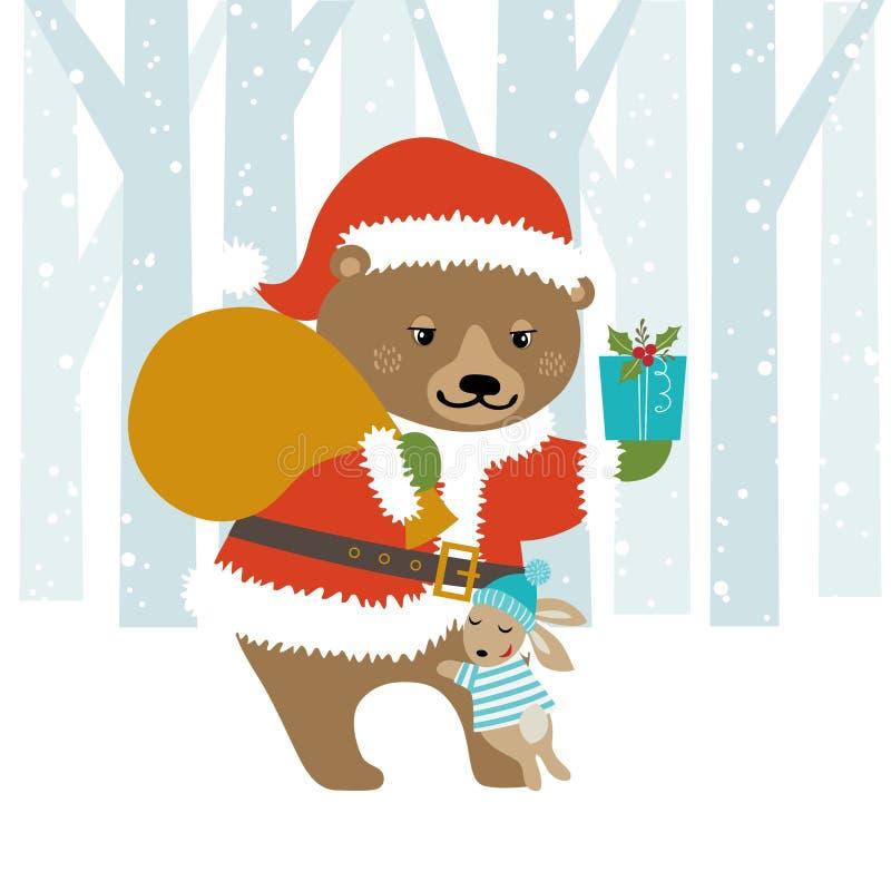 Bear Santa royalty free illustration