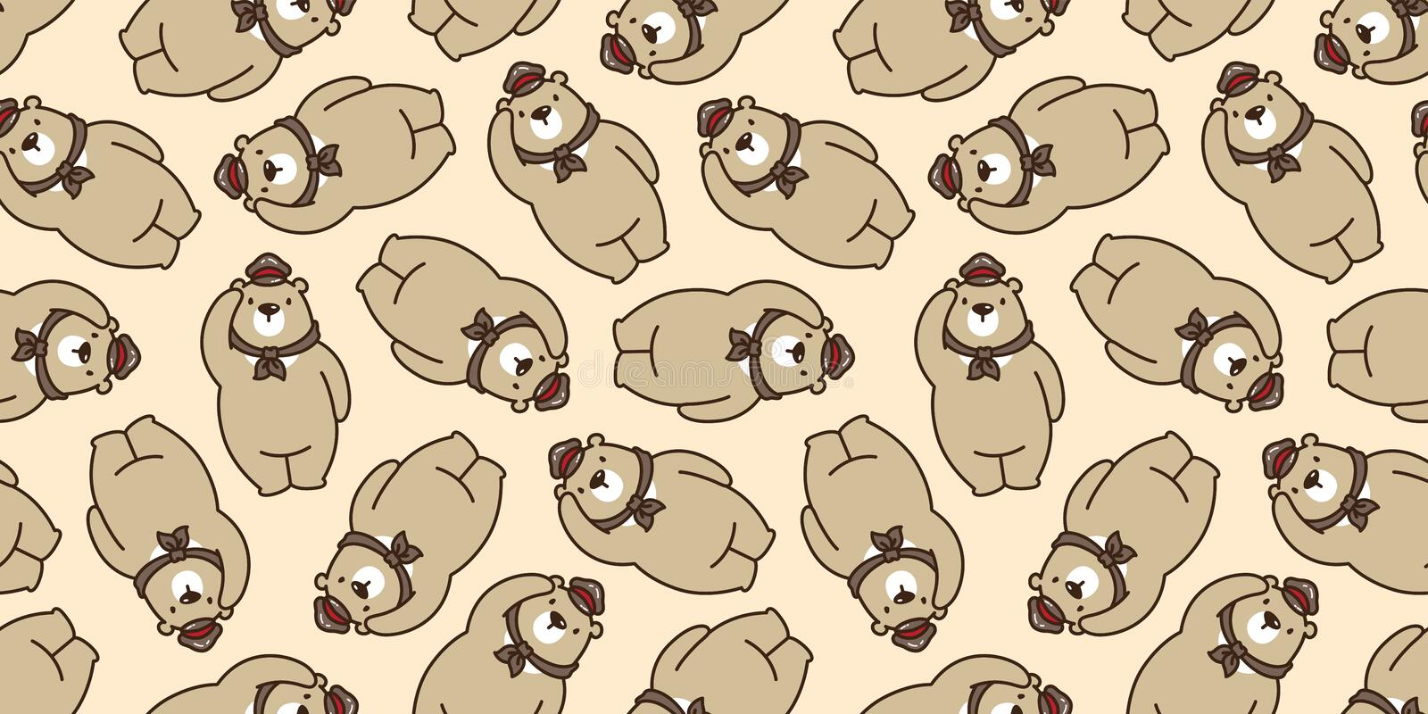 Bear seamless pattern polar bear vector isolated panda teddy scarf hat cap background repeat wallpaper brown royalty free illustration