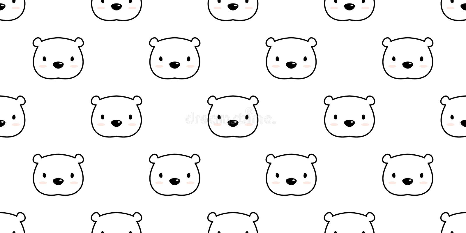 Bear seamless pattern polar bear vector panda isolated background illustration cartoon wallpaper white. Bear seamless pattern polar bear vector panda isolated vector illustration