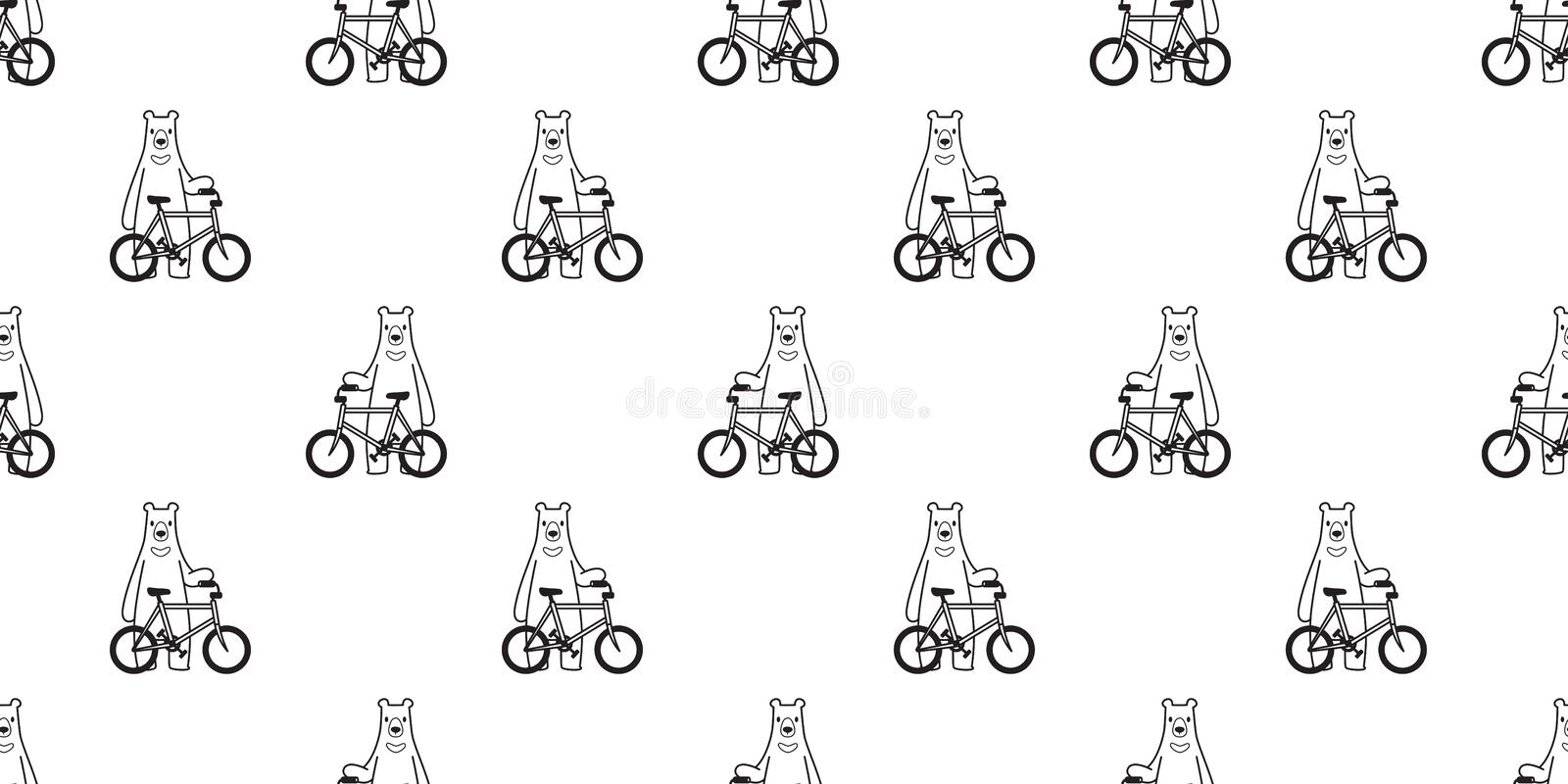 Bear seamless pattern vector polar bear bicycle riding cycling cartoon scarf isolated illustration tile background repeat wallpape royalty free illustration