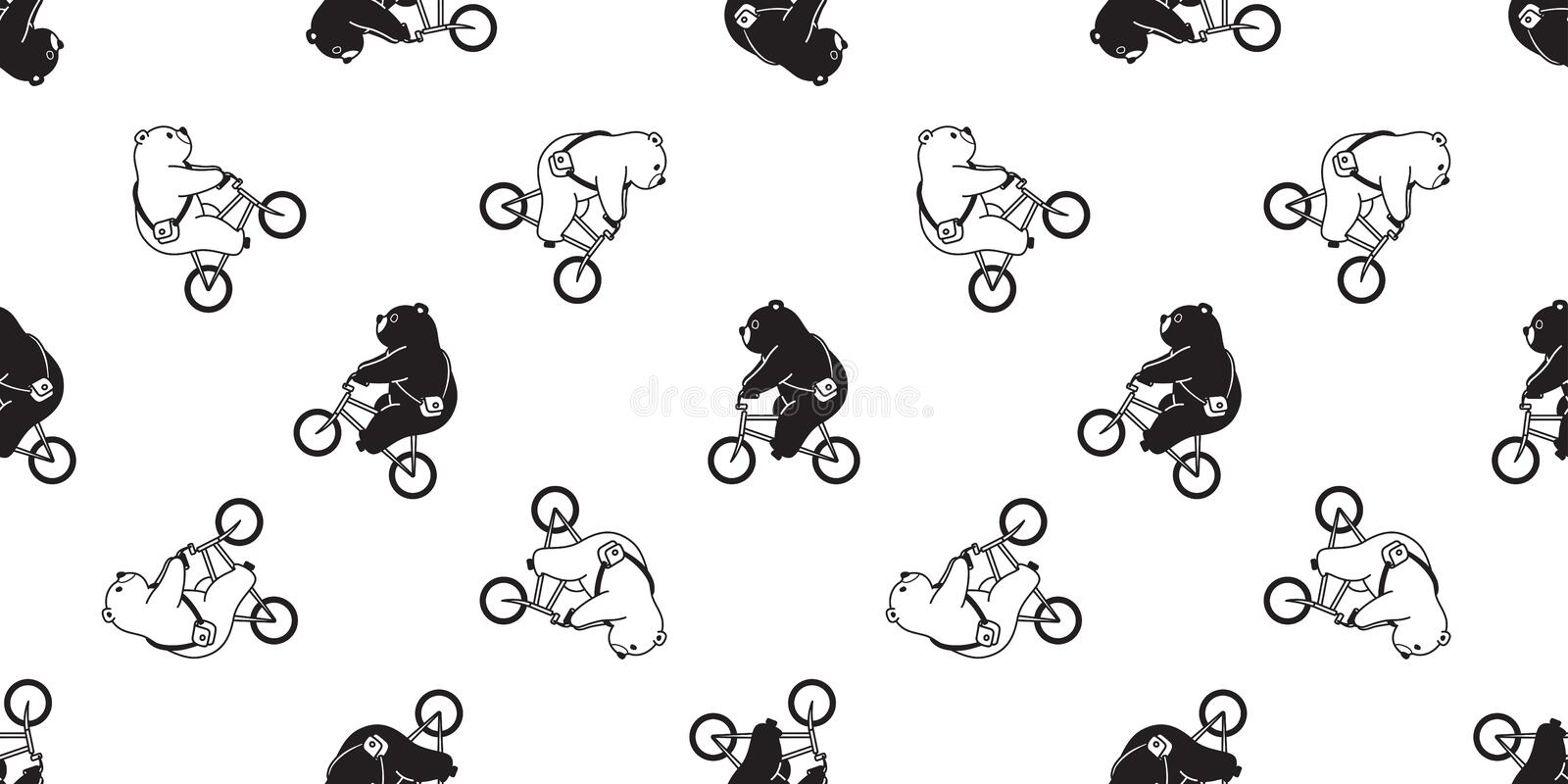 Bear seamless pattern vector polar bear bicycle riding cycling scarf isolated cartoon illustration tile background repeat wallpape stock illustration