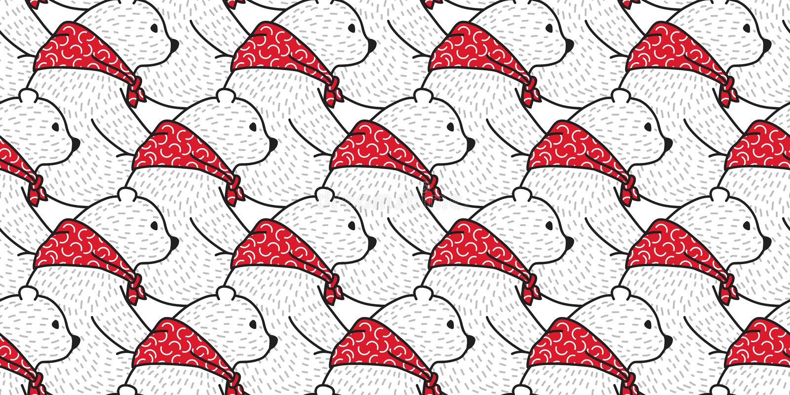 Bear seamless pattern vector polar bear panda red scarf isolated background wallpaper. Bear seamless pattern vector polar bear panda red scarf isolated tile vector illustration
