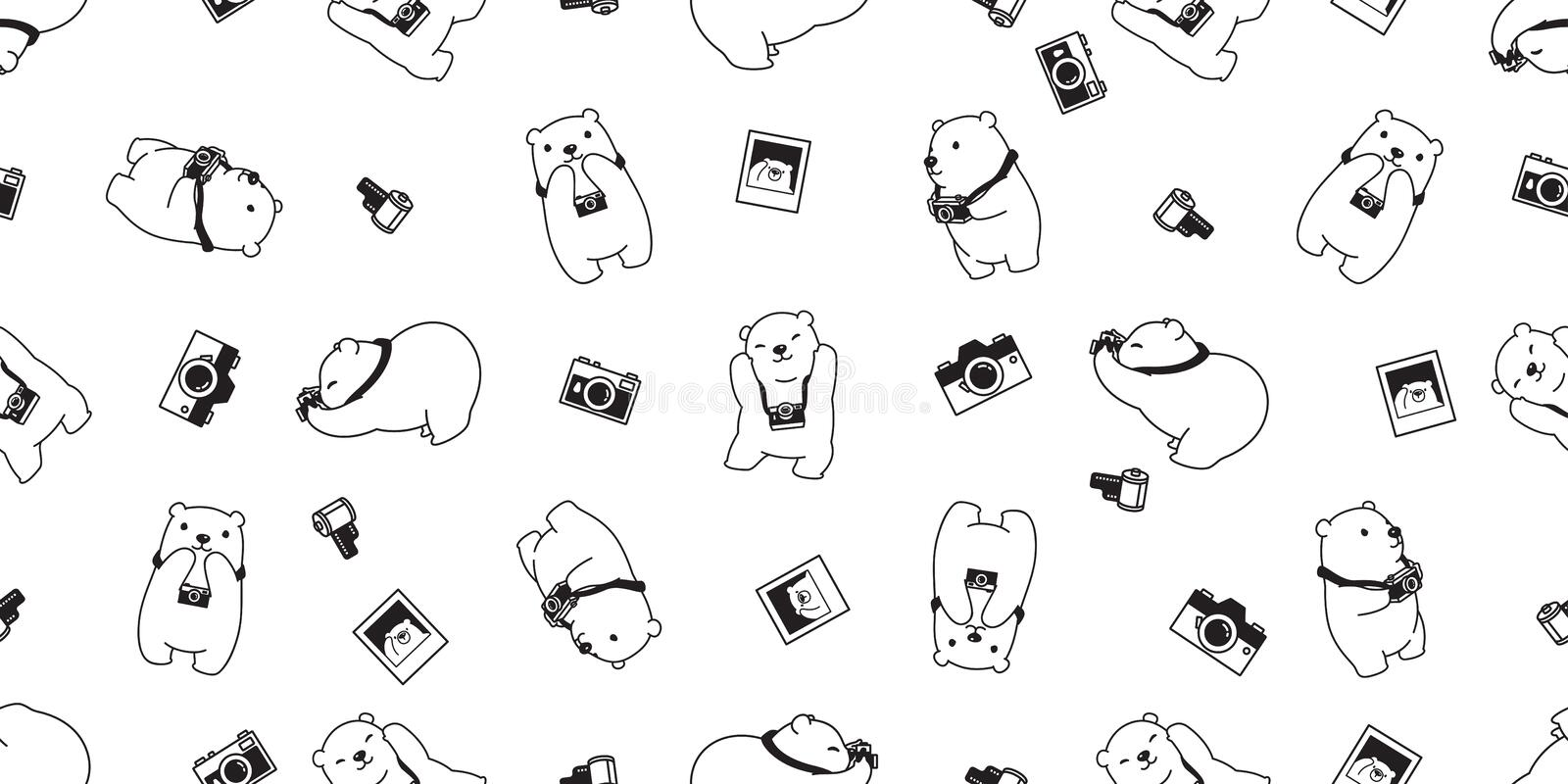 Bear seamless pattern vector polar bear camera scarf isolated repeat wallpaper tile background cartoon illustration doodle white d. Esign cute royalty free illustration