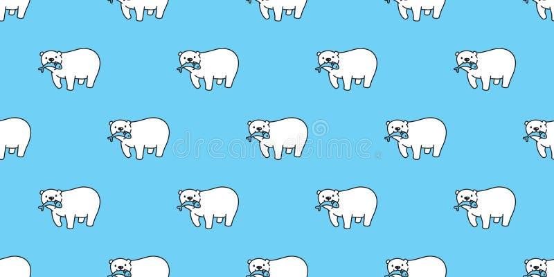Bear seamless pattern vector polar bear panda isolated catch fish repeat wallpaper background cartoon blue. Bear seamless pattern vector polar bear panda vector illustration