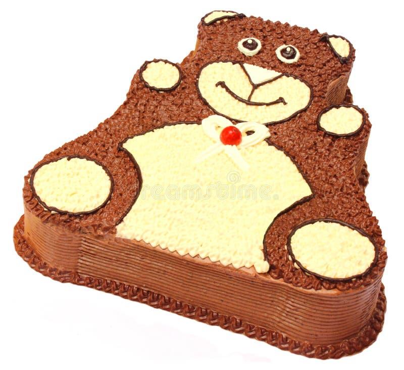 Bear shape birthday cake. Isolated over white background stock photos