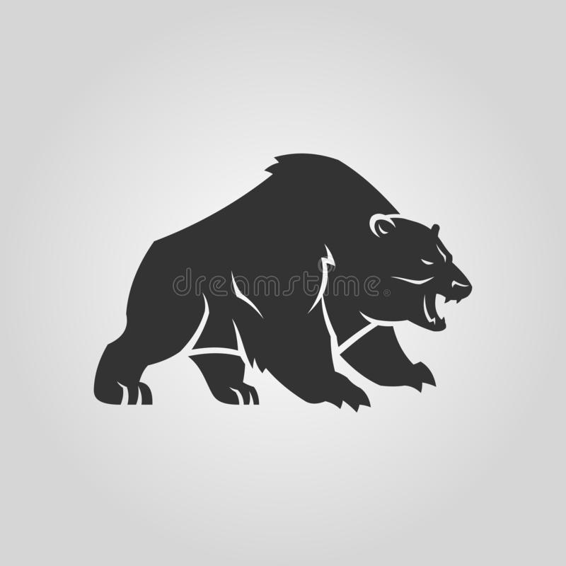 Bear silhouette. Growling angry bear vector icon. royalty free illustration