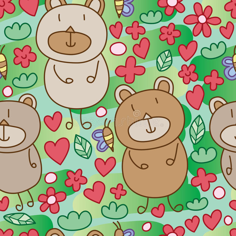 Bear silly bored seamless pattern royalty free illustration