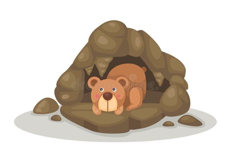 Bear sleeping in cave vector stock illustration