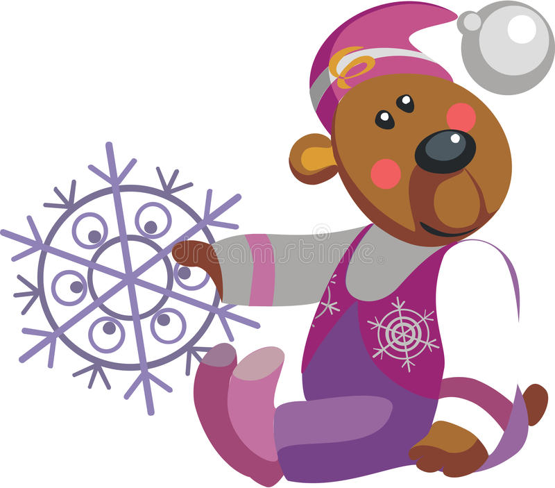 Bear With Snowflakel Color 10 Royalty Free Stock Photography