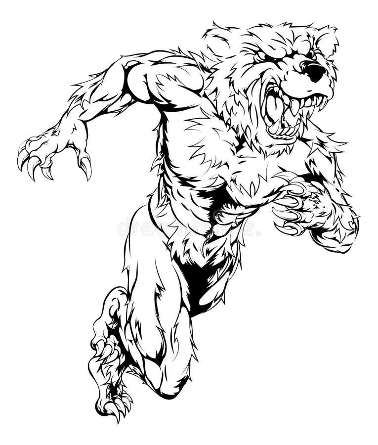 Bear sports mascot running. A bear man character or sports mascot charging, sprinting or running stock illustration
