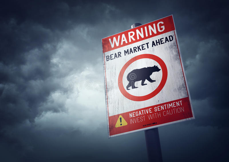 Bear Stock Market. Warning sign with growing storm clouds stock images