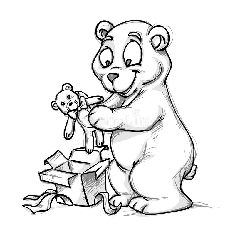 A bear and a teddy-bear. A bear opening a present for new year's royalty free illustration