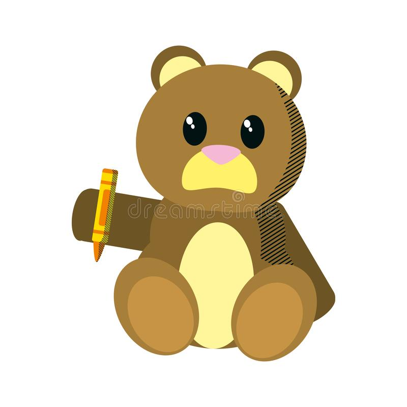 Bear teddy cute toy with crayon vector illustration
