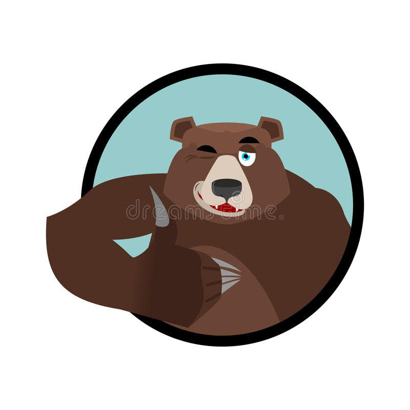 Bear thumbs up and winks. all well Grizzlies. Signs all right. H vector illustration