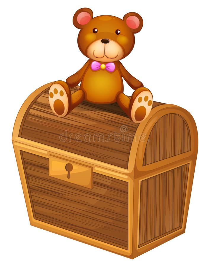 A bear at the top of a treasure chest. Illustration of a bear at the top of a treasure chest on a white background stock illustration