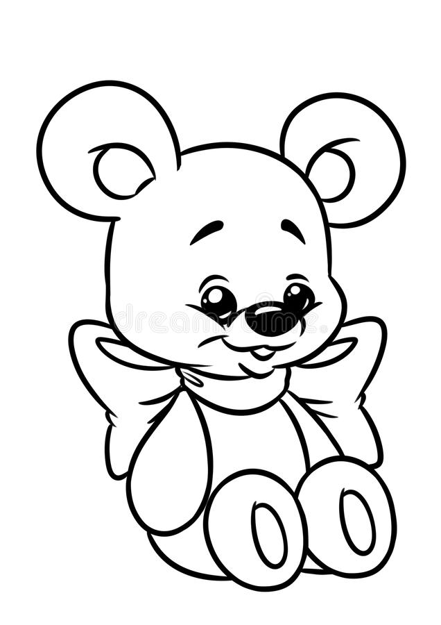 Bear toy coloring page stock illustration Illustration of small