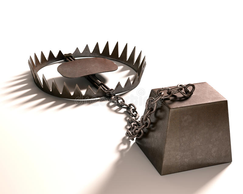 Bear Trap. On white background. Clipping path included stock photos
