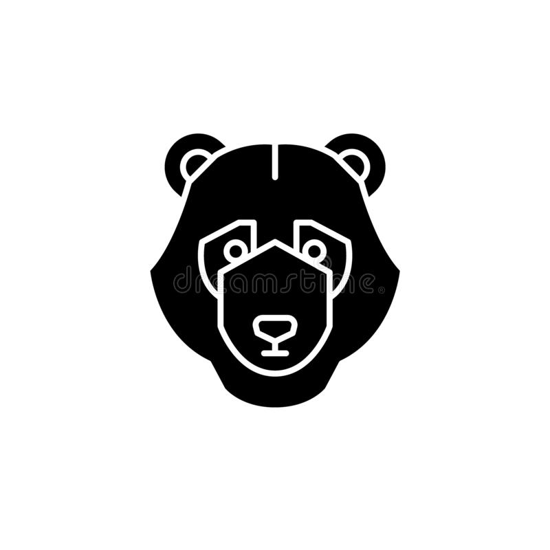 Bear trend black icon, vector sign on isolated background. Bear trend concept symbol, illustration royalty free illustration