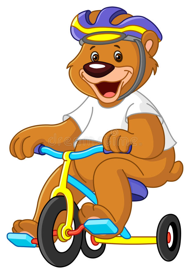 Bear on tricycles stock illustration