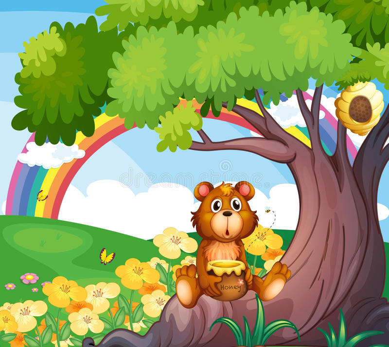 A bear under the tree with a rainbow at the back. Illustration of a bear under the tree with a rainbow at the back stock illustration