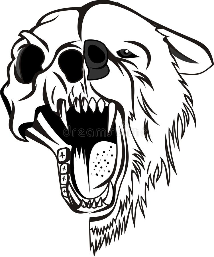 Bear Vector. Cool angry Bear Vector Line Art Vector suitable for sticker, t-shirt, mug, etc vector illustration