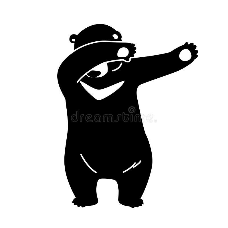 Bear vector icon logo Polar bear dab dance illustration cartoon character. Black bear royalty free illustration
